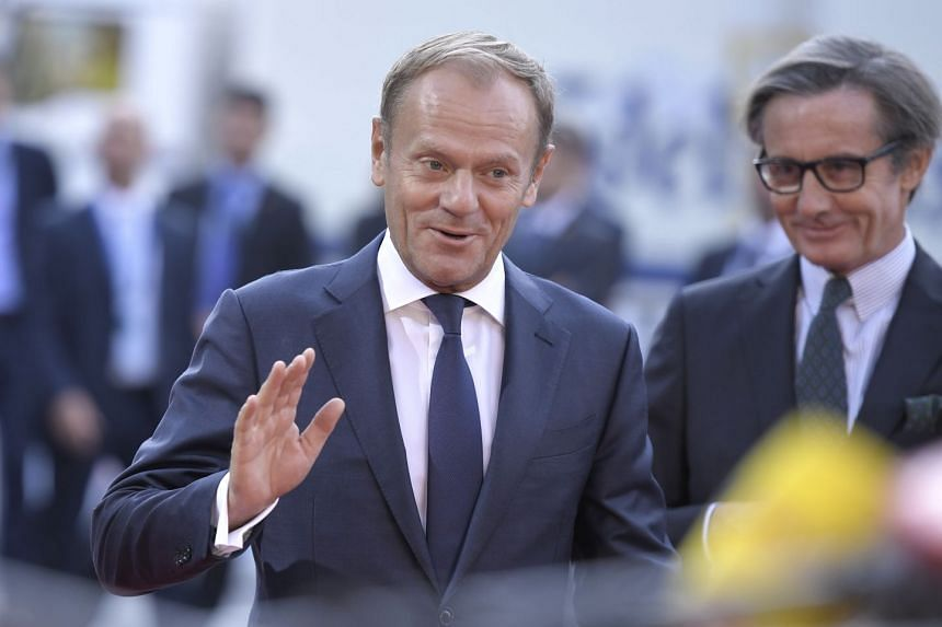 President of European Council Donald Tusk arriving for the European Union's Informal Heads of State Summit in Salzburg, Austria, on Sept 20, 2018.