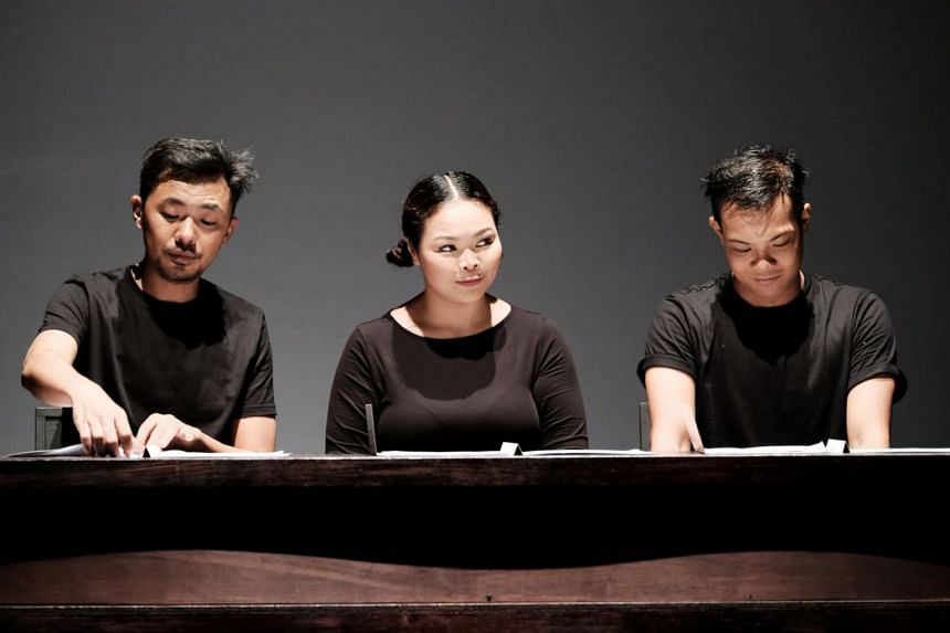 (From left) Rei Poh, Siti Khalijah Zainal and Farez Najid in Tiger Of Malaya, presented by Teater Ekamatra.