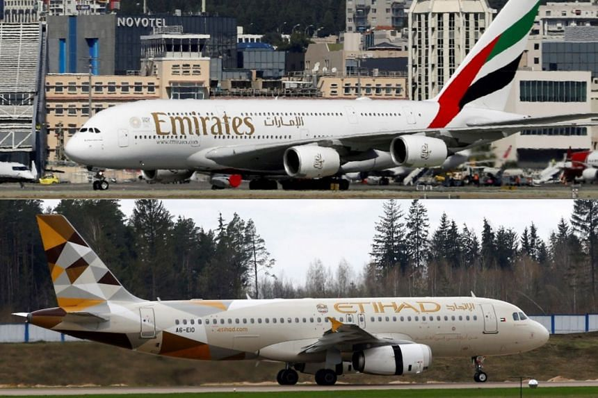 Emirates is owned by the government of Dubai, while Etihad is controlled by the government of neighbouring Abu Dhabi.