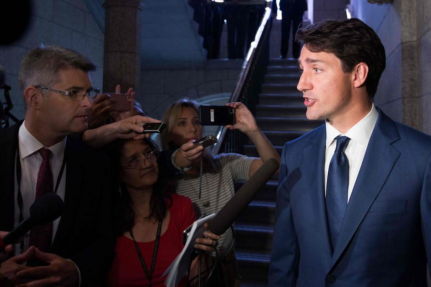 Trudeau answering media questions in Ottawa, on Sept 17, 2018.