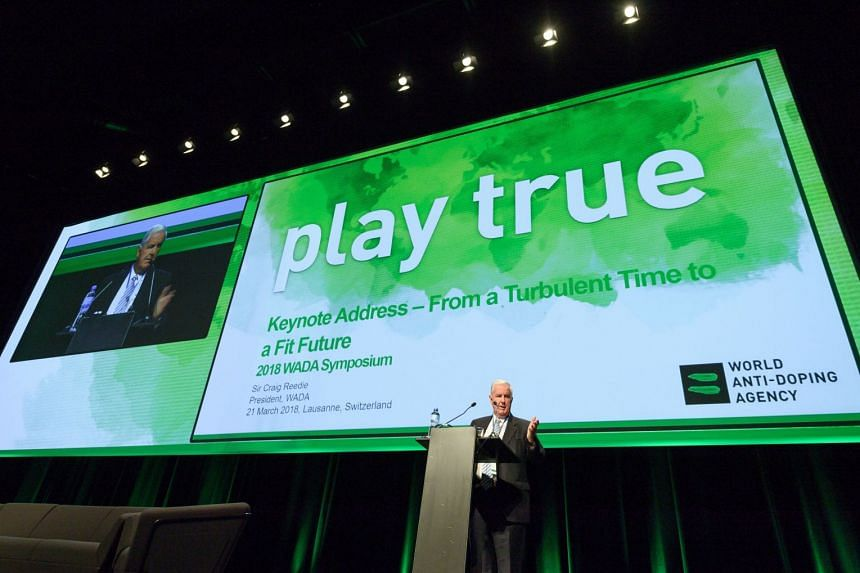 A file photo taken on March 21, 2018, shows World Anti-Doping Agency (Wada) president Craig Reedie at the opening of the 2018 edition of the Wada Annual Symposium in Lausanne, Switzerland.