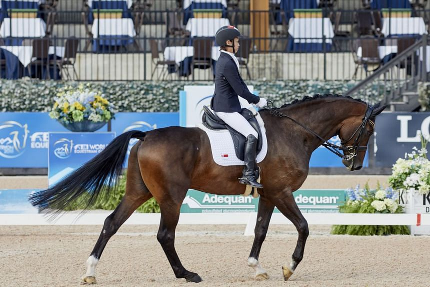 Laurentia Tan on Fuerst Sherlock, winning silver in para-dressage individual championship grade I at the World Equestrian Games 2018 in Tyron, North Carolina, on Sept 19, 2018.