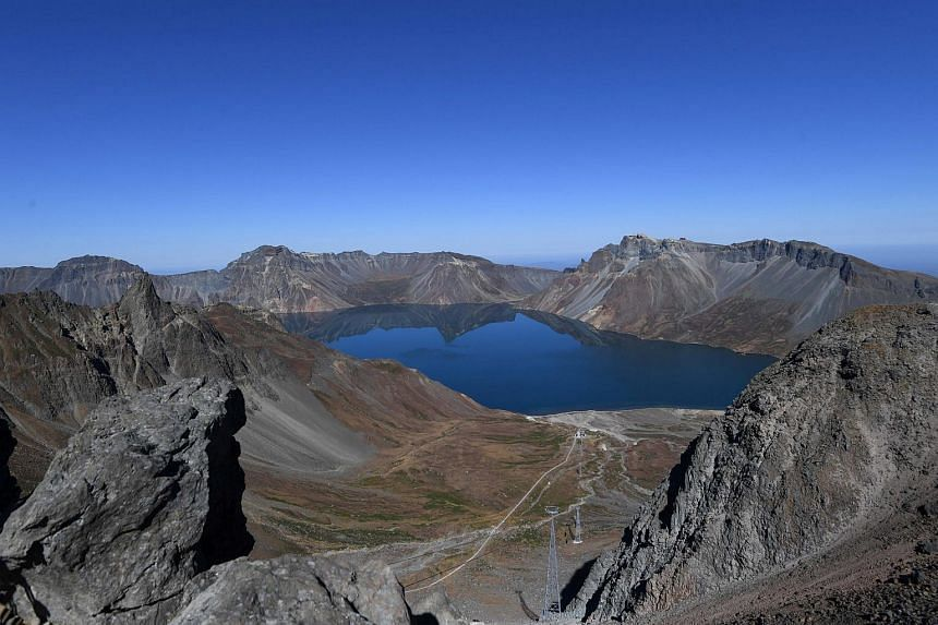 The Heaven Lake is pictured on the top of Mount Baekdu, North Korea, on Sept 20, 2018.