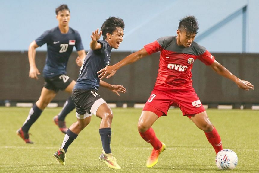 The Young Lions (blue) playing Balestier Khalsa in a friendly in January 2018. The national selection comprises 10 players from the Singapore Premier League club. PHOTO: ST FILE