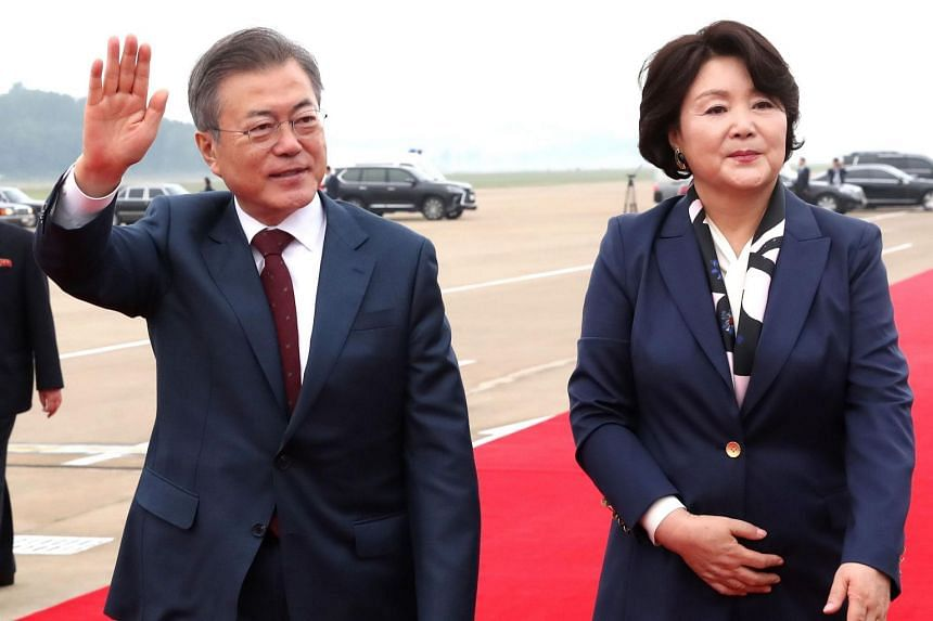 Known for his love of mountain climbing, South Korean President Moon Jae-in, pictured with his wife Kim Jung-sook, has long stated that he would love to visit Mount Baekdu.