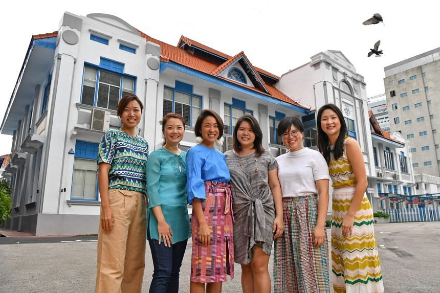 Former SCGS students (from left) Daphne Yuan, Lim Swee Keng, Sarah Lin, Melisa Chan, Natalie Kwee and Jackie Lin are planning to save their old school compound at 37 Emerald Hill.
