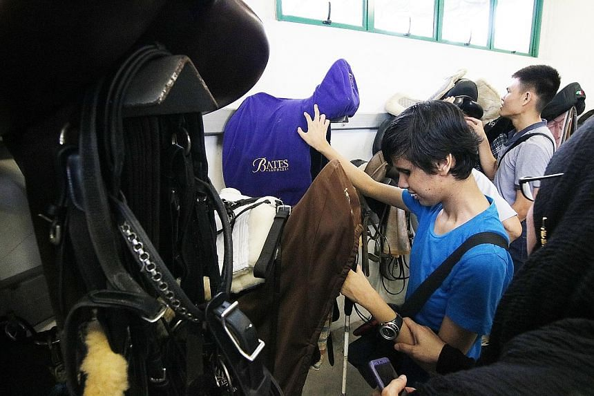 Ms Nurul Natasya Idrus (above), 20, who is blind, feeling a horse saddle during a visit to Singapore Turf Club Riding Centre on Wednesday. She was among the clients of Guide Dogs Singapore (GDS), a social service charity, who visited the riding centr