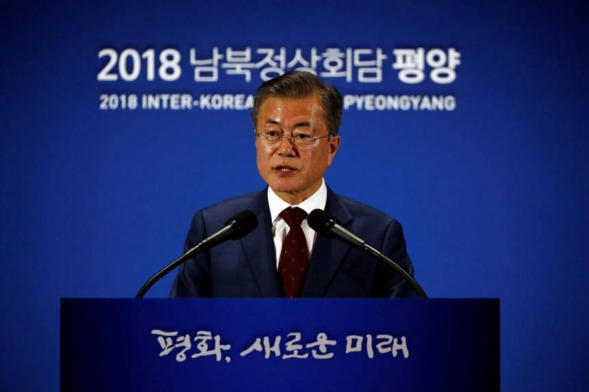 South Korean President Moon Jae-in speaks during a news conference in Seoul, on Sept 20, 2018.