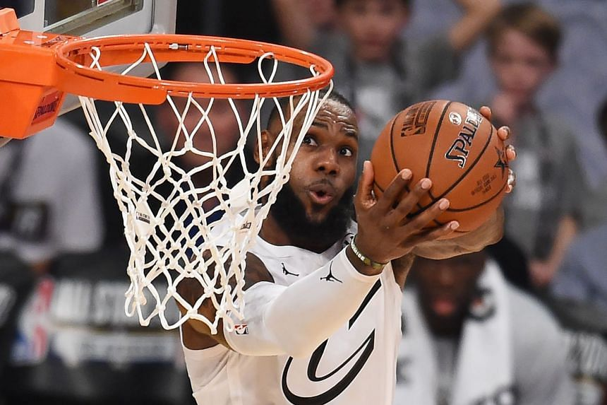 A file photo taken on Feb 18, 2018, shows LeBron James sinking a basket during the 2018 NBA All-Star Game at Staples Center in Los Angeles.