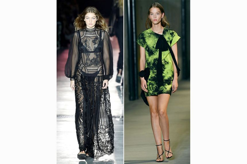 Model Gigi Hadid (above) in a dress by Alberta Ferretti and another model in a creation by N21 (right) at Milan Fashion Week.