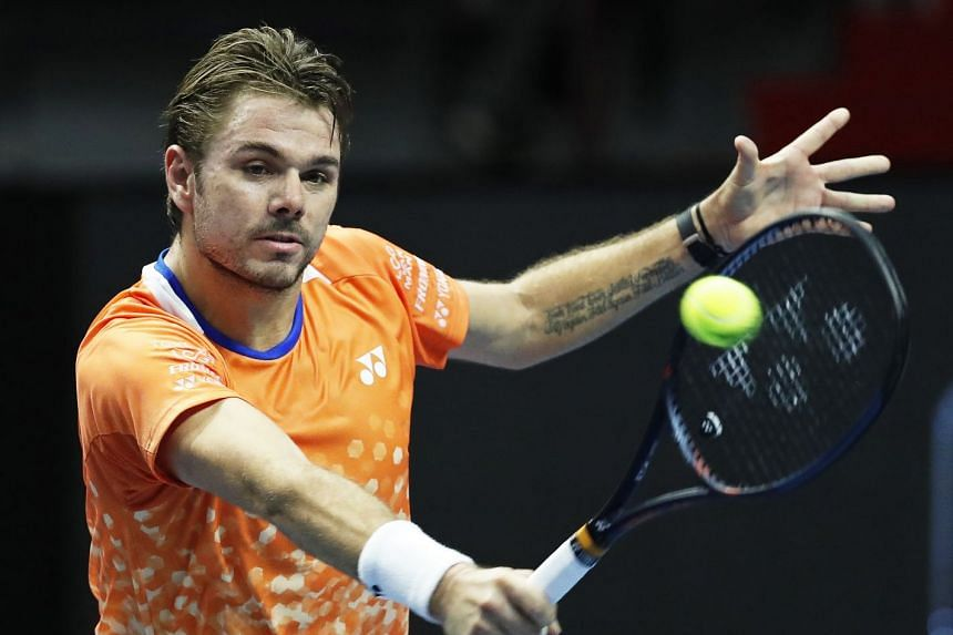 Wawrinka  in action against Damir Dzumhur of Bosnia and Herzegovina.