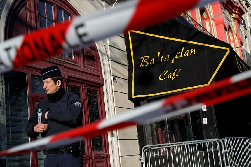 French police block the access to the Bataclan concert hall before a parliamentary visit in 2016.