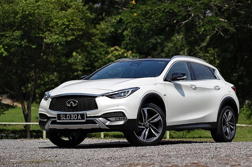 The Infiniti QX30 comes with 19-inch alloys, panoramic sunroof, self-parking system, lane-departure warning and traffic sign recognition, and a 10-speaker Bose sound system.