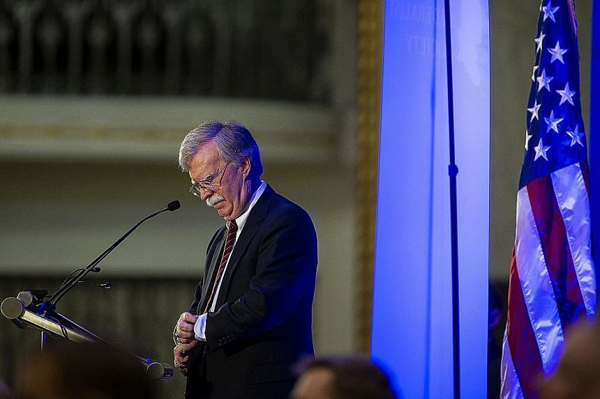 US National Security Adviser John Bolton speaking in Washington earlier this month. He rewrote a draft of the cyber strategy after joining the Trump administration in April.