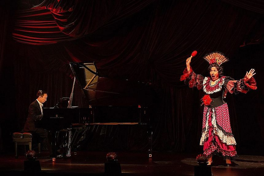 Flamboyant costumes help actress Leigh McDonald bring American socialite Florence Foster Jenkins to life, while Hossan Leong plays her long-suffering musical partner Cosme McMoon.