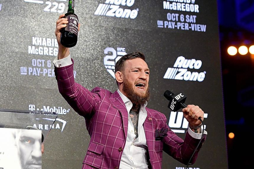 UFC star Conor McGregor was in confident mood on Thursday and predicted he would beat current lightweight champion Khabib Nurmagomedov in the first round of their title fight on Oct 6 in Las Vegas.