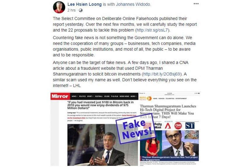 PM Lee Hsien Loong's post was accompanied by a screenshot of a website with a picture of him and some quotes attributed to him.