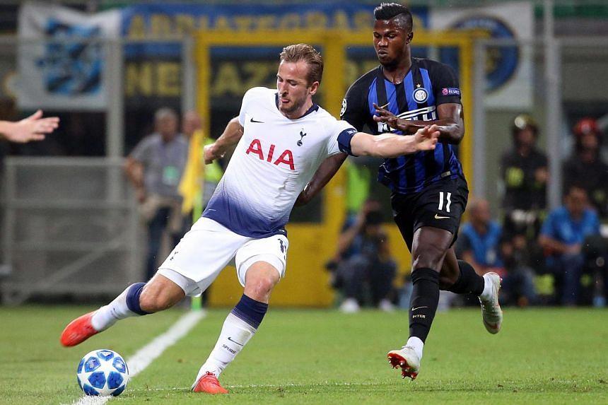 Tottenham Hotspur's forward Harry Kane (in white) in action against Inter Milan, on Sept 18, 2018.