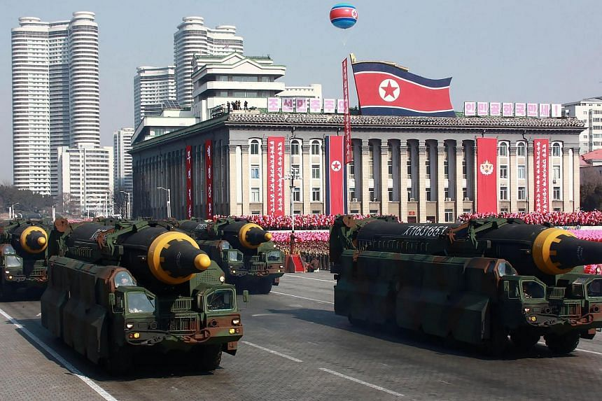 Ballistic missiles on display during a military parade in Pyongyang, on Feb 8, 2018.