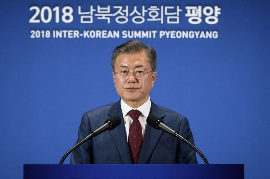 South Korean President Moon Jae-in (pictured) flew to Pyongyang this week for his third summit with North Korean leader Kim Jong Un.