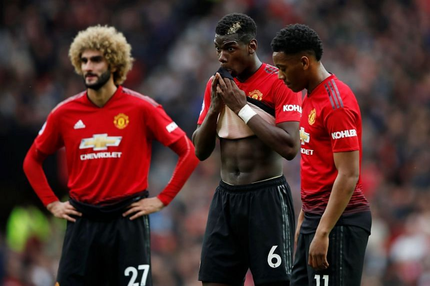 Manchester United's Marouane Fellaini, Paul Pogba and Anthony Martial.