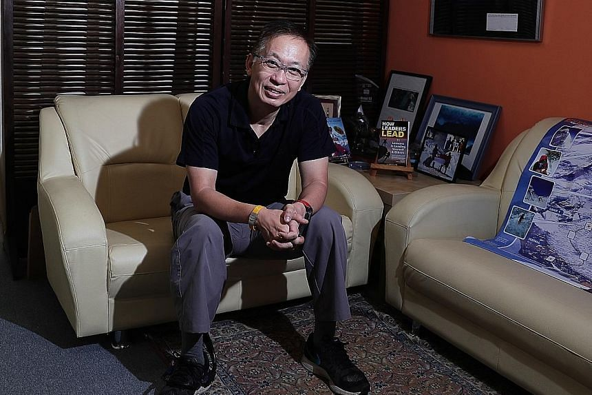 Motivational speaker and mountaineer David Lim's portfolio comprises roughly 40 per cent property, 40 per cent equities and 20 per cent cash. He gets about 4 to 5 per cent returns on most of his asset classes.