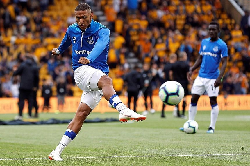 Richarlison before the EPL season opener at Wolves. Despite being sent off against Bournemouth and suspended for three matches, the Brazilian is Everton's joint top scorer in the league with three goals.