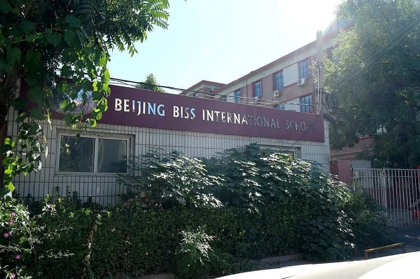 The gates of Beijing BISS International School were padlocked yesterday. The school is listed as part of the ISS education group, which also runs the ISS International School in Singapore.