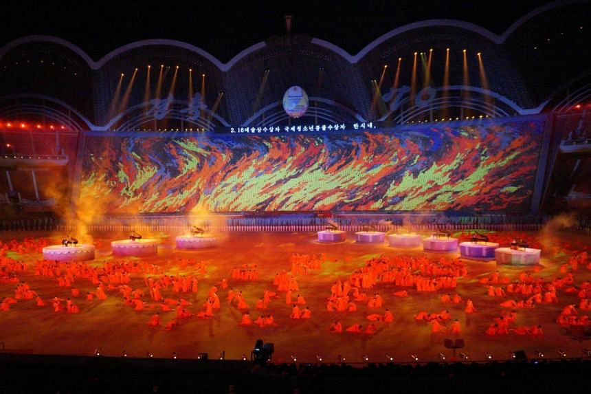 Performances from the mass games at Pyongyang's May Day Stadium, on Sept 21, 2018.