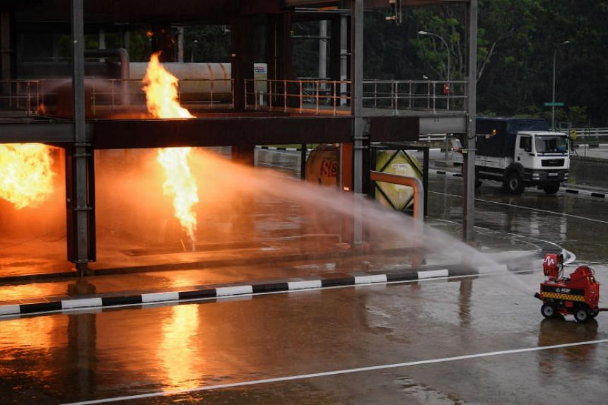 The remotely controlled pumper firefighting machine, which directs water jets to the fires without risking the lives of firefighters, is being explored by the Singapore Civil Defence Force.