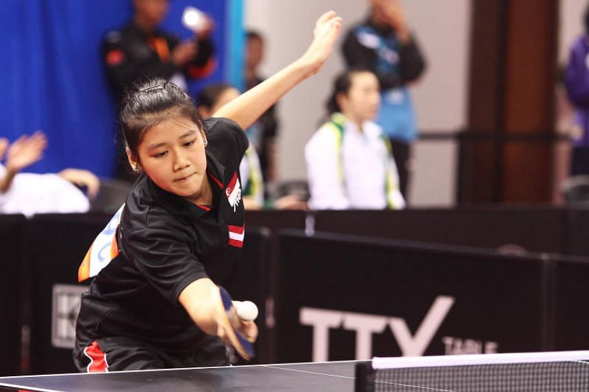 A file photo taken on April 9, 2017, shows Singapore's Wong Xin Ru in action during the Asian Table Tennis Championships in Wuxi, China.