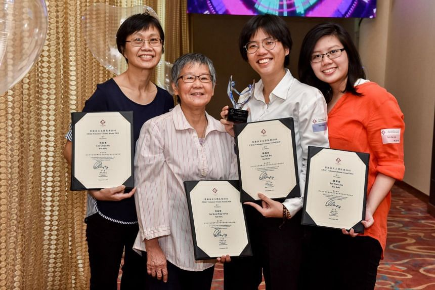 One of the teams receiving the award is Red Ruby, which includes (from left) Lim Chay Bee, 60, Lee Kwai Peng Vivien, 68, Tan Poh Jee and Tan Xue Ling, both 30.