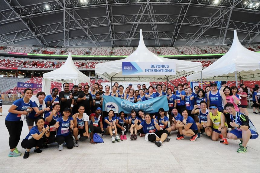 Corporate entrants from Beyonics International at the sixth edition of the Straits Times Run on Sept 23, 2018.