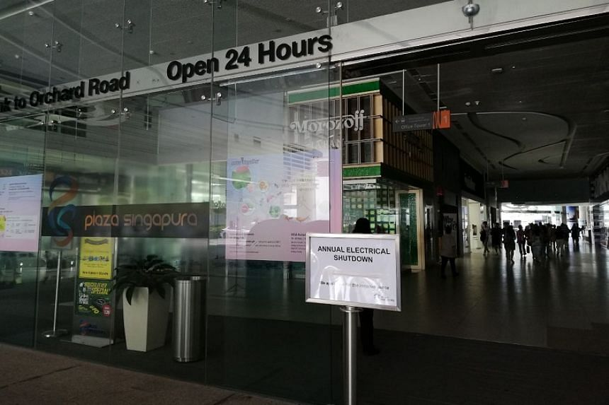 The power shutdown, part of Plaza Singapura's annual maintenance schedule, was supposed to end by 8am, but instead lasted until 2.15pm on Sept 23