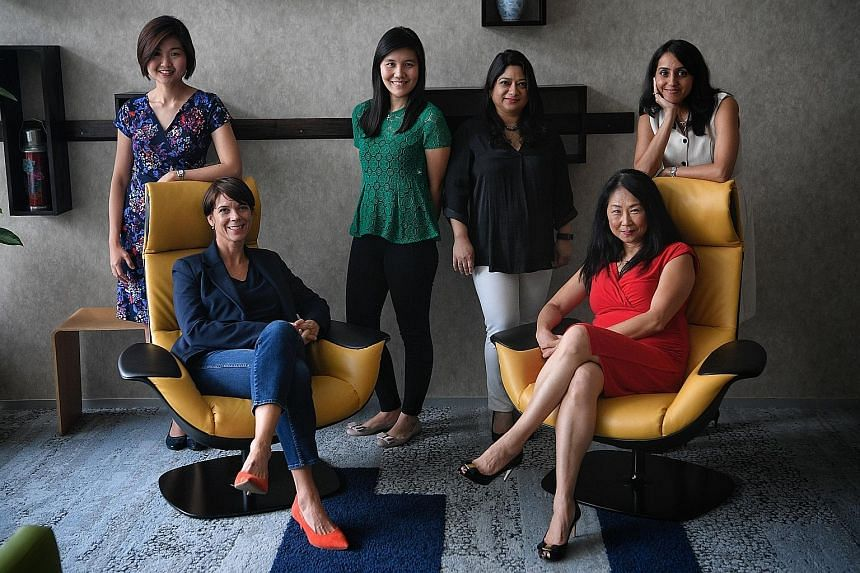 SAP employees (from left) Wang Libin, Vicky Windsor, Erica Sutedja, Bipasha Dowerah, Lu Hongwei and Tina Bhatia have taken part in either the Four-Week Phased Integration Back to Work initiative or Back-to-Work programme offered by the software firm