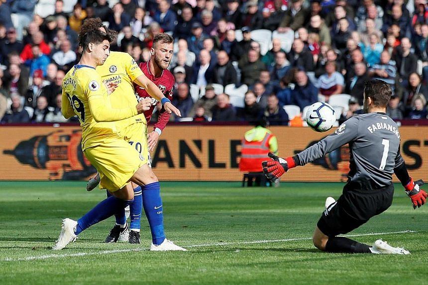 West Ham goalkeeper Lukasz Fabianski saving Chelsea striker Alvaro Morata's effort from close range with his face, summing up the Blues' frustrating outing at the London Stadium yesterday.