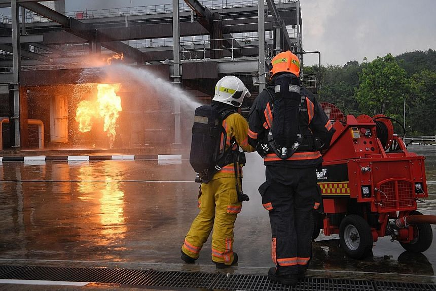 One of the newer technologies being explored by the Singapore Civil Defence Force is the Pumper Firefighting Machine (above), a remotely-controlled device that can get close to fires without risking the lives of SCDF firefighters.