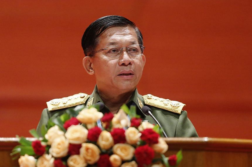 Myanmar army chief Min Aung Hlaing speaking at a conference in Naypyitaw, Myanmar, on July 11, 2018.