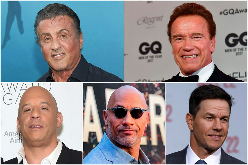 In the 1980s, actors who embodied the image of the strongman included (top row from left) Sylvester Stallone and Arnold Schwarzenegger. Today, they include (bottom row from right) Mark Wahlberg, Dwayne Johnson and Vin Diesel.