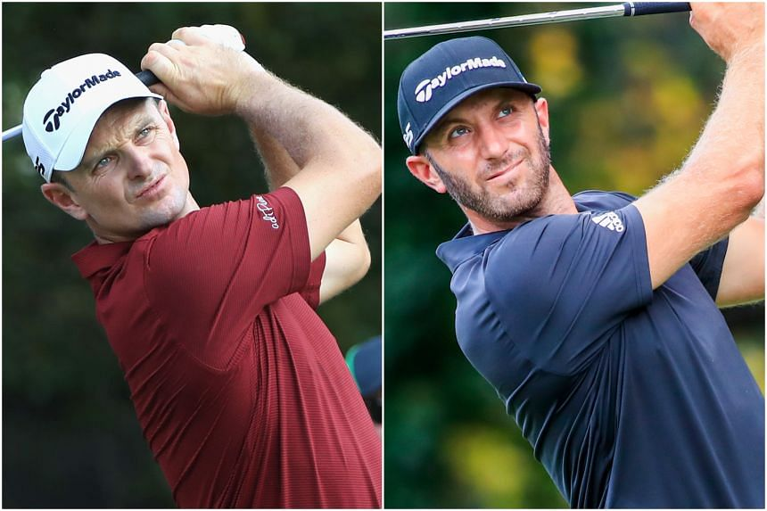 Dustin Johnson (right) regained the ranking after finishing third, one shot ahead of Justin Rose, at Atlanta's East Lake Golf Course.