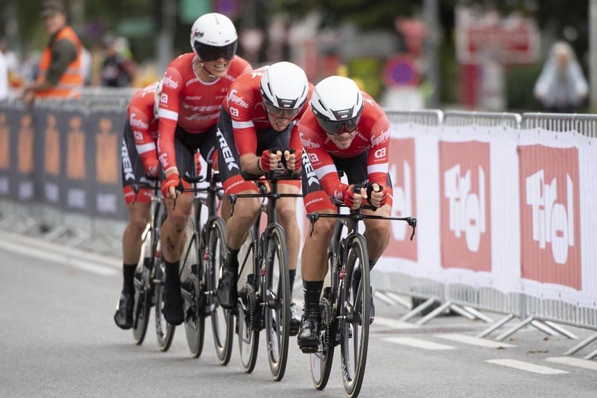 Trek-Segafredo from the United States compete in the men's elite Team Time Trial road race during the UCI Cycling Road World Championships in Innsbruck, Austria, on Sept 23, 2018.