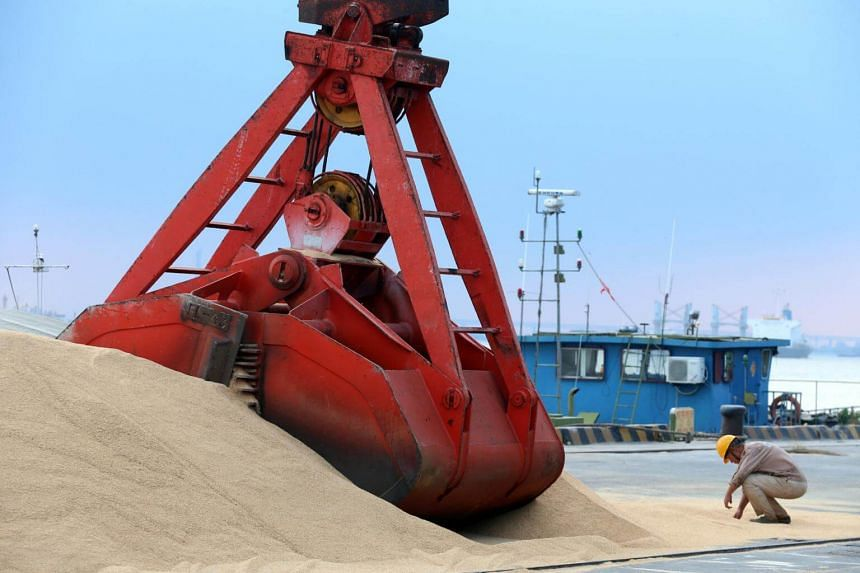 Imported soybeans are transported at a port in Nantong, Jiangsu province, China, on Aug 6, 2018.