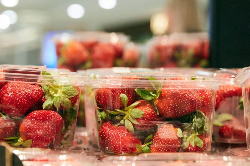 Strawberry punnets seen at a supermarket in Sydney, on Sept 13, 2018. A supermarket chain said it had taken a brand of Australian strawberries off the shelves after a sabotaged punnet was sold in an Auckland store.