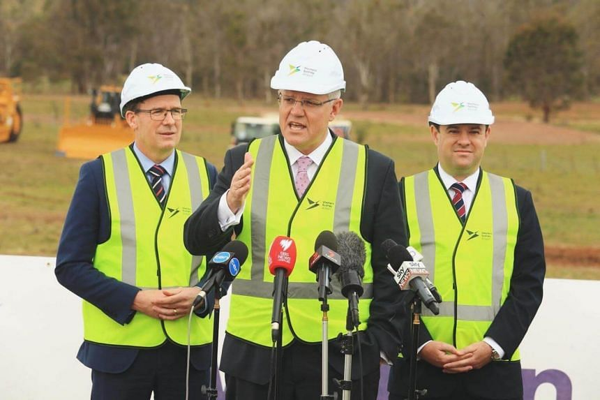 """""""It's great to see this happening,"""" said Prime Minister Scott Morrison (centre) at the opening of the construction of Western Sydney Airport."""