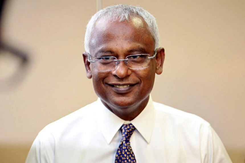 Maldivian joint opposition presidential candidate Ibrahim Mohamed Solih speaks to the media at the end of the presidential election day in Male, Maldives, on Sept 23, 2018.
