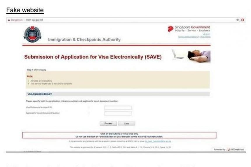 The fraudulent website obtaining visitors' visa reference numbers and travel document numbers, with the Web address http://mom-sg-gov.ml.