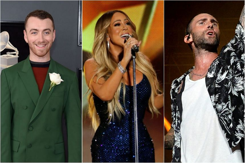 Sam Smith (left) will play his first Singapore concert on Oct 2 and 3, while Mariah Carey (centre) will be holding a special one-night concert on Nov 3. Maroon 5 will be bringing their Red Pill Blues tour to Singapore on March 7, 2019.