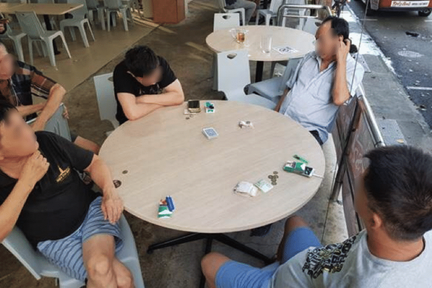 Four men, aged between 48 and 67, were arrested for public gaming at a coffeeshop along Kelantan Lane. Twenty-five stacks of poker cards and $324 in cash were seized from the men.