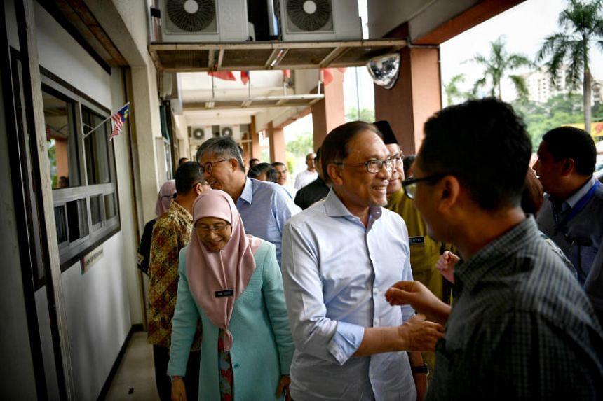 Datuk Seri Anwar Ibrahim from his Port Dickson candidate announcement press conference, at the Keadilan Headquarters, in Petaling Jaya, on Sept 21, 2018.