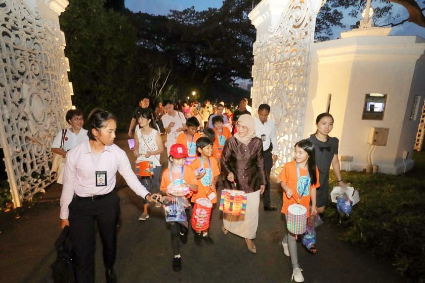 President Halimah Yacob at a Mid-Autumn Festival picnic held at the Istana on Sept 24, 2018.